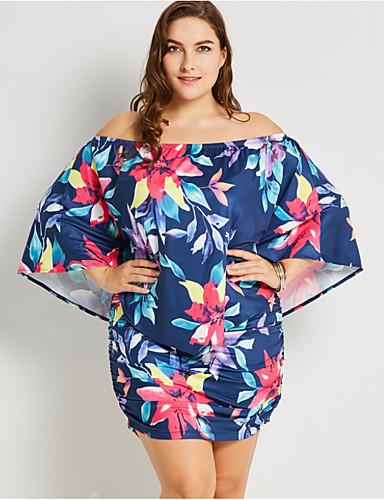hesapli Büyük Beden Elbiseleri-Kadın's Salaş Kılıf Elbise Desen Düşük Omuz Diz üstü