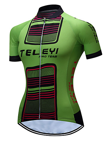 cheap Cycling Clothing-TELEYI Women's Short Sleeve Cycling Jersey - Green Stripes Plus Size Bike Jersey Top Breathable Quick Dry Sports Polyester Mountain Bike MTB Road Bike Cycling Clothing Apparel / Stretchy / SBS Zipper