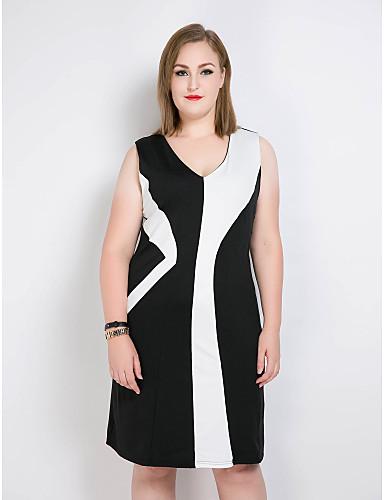 voordelige Grote maten jurken-Dames Grote maten Vintage / Street chic Recht / Schede / Zwart en wit Jurk - Kleurenblok / Patchwork V-hals Midi / Tot de knie