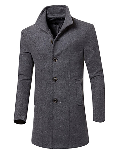 Men's Daily / Going out / Weekend Fall / Winter Long Coat, Solid Colored Shirt Collar Long Sleeve Cotton / Polyester Gray / Wine / Army Green XL / XXL / XXXL