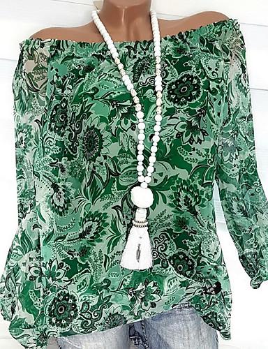 abordables Hauts pour Femmes-Chemisier Grandes Tailles Femme, Fleur / Mode A Volants / Style floral / Imprimé Basique Epaules Dénudées Orange