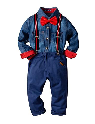 Djeca Dječaci Osnovni Print Dugih rukava Pamuk Komplet odjeće Navy Plava