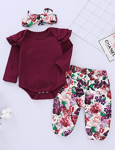 Toddler Girls' Active / Basic Daily / Going out Jacquard Long Sleeve Cotton / Spandex Clothing Set Wine