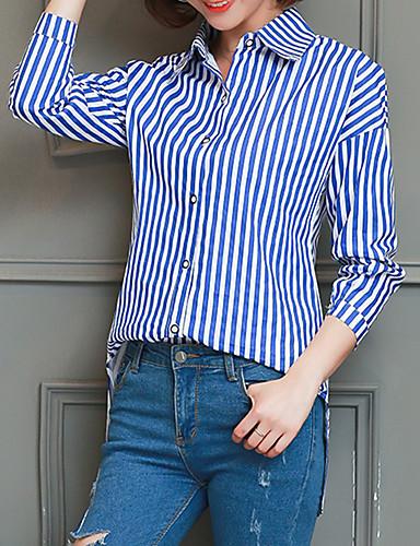 billige Topper til damer-Bomull Skjortekrage Skjorte Dame - Stripet, Trykt mønster Grunnleggende Blå L / Sexy