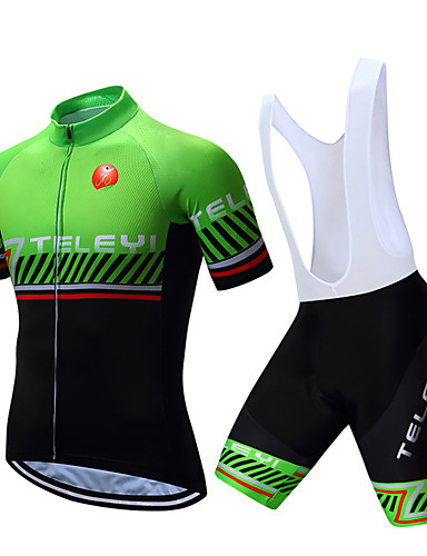 b3197a06834 TELEYI Men s Short Sleeve Cycling Jersey with Bib Shorts - White Black  Stripes Bike Clothing Suit Breathable Quick Dry Sports Polyester Stripes  Mountain ...