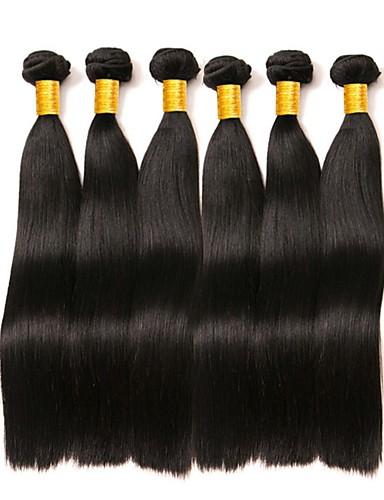 billige Nyheter-6 pakker Brasiliansk hår Indisk hår Rett 8A Ekte hår Ubehandlet Menneskehår Gaver Cosplay Klær Hodeplagg 8-28 tommers Naturlig Farge Hårvever med menneskehår Newborn Silkete Ny ankomst Hairextensions