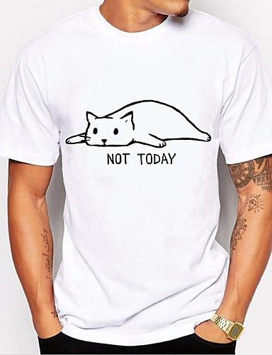 cheap Men's Tees & Tank Tops-Men's Daily Weekend Basic Cotton T-shirt - Animal / Letter Black & White, Print Round Neck White XL / Short Sleeve