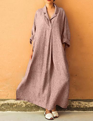 billige Kjoler-Dame Store størrelser Elegant Løstsittende Oversized Abaya Kjole - Ensfarget Skjortekrage Maksi