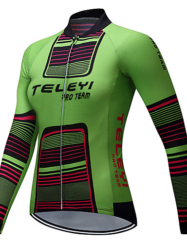 cheap Cycling Clothing-Women's Long Sleeve Cycling Jersey - Green Stripes Plus Size Bike Jersey Top Fleece Lining Breathable Sports Winter Polyester Mountain Bike MTB Road Bike Cycling Clothing Apparel / Stretchy