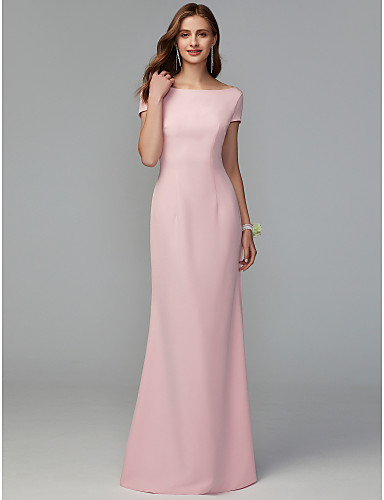 1863716772d0 Sheath   Column Scoop Neck Floor Length Jersey Bridesmaid Dress with  Draping   Criss Cross by LAN TING BRIDE®   Open Back