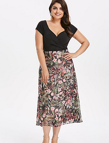 voordelige Grote maten jurken-Dames Standaard Schede Jurk Patchwork Print Diepe V-hals Midi Hoge taille / Hoge taille
