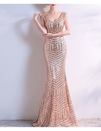 d755666d8a7 A-Line   Mermaid   Trumpet V Neck Floor Length Sequined Formal Evening Dress  with Beading   Sequin   Crystals by LAN TING Express 7107048 2019 –  99.99
