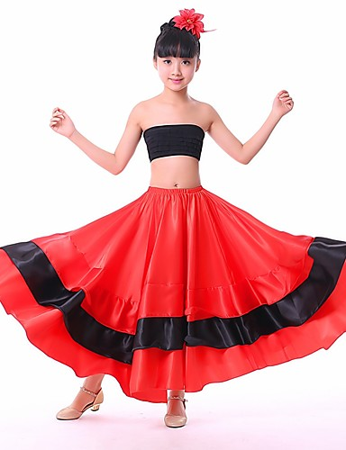 782f098d98e2 Latin Dance Bottoms / Flamenco Girls' Performance POLY Ruching / Split  Joint Dropped Skirts