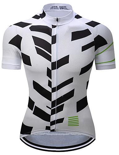 90621754e TELEYI Men s Short Sleeve Cycling Jersey - Black   White Bike Jersey Quick  Dry Sports Polyester Mountain Bike MTB Road Bike Cycling Clothing Apparel  ...