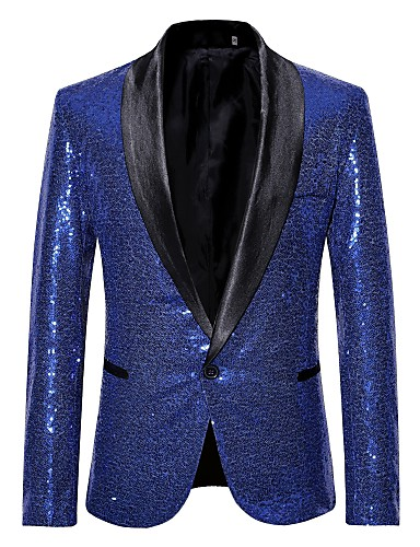 706d052ef4 Men's Party / Club Luxury All Seasons Regular Blazer, Solid Colored Shawl  Collar Long Sleeve Polyester Sequins Silver / Wine / Royal Blue L / XL / XXL