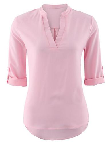 Camicia Per donna Moda città Tinta unita A V Bianco M