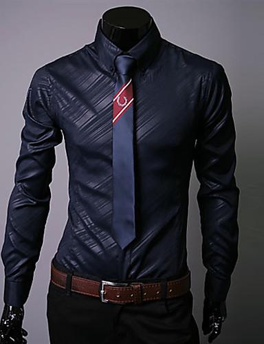 abordables Camisas de Hombre-Hombre Básico / Chic de Calle Talla EU / US Camisa, Cuello Inglés Un Color / Gráfico Blanco XL / Manga Larga / Otoño