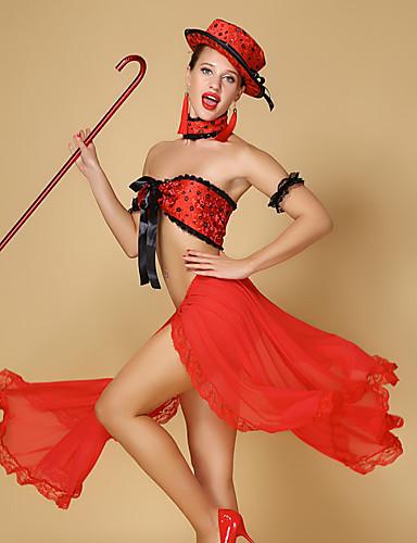 halpa Etniset & Cultural Puvut-Espanjan nainen Hameet Samba-rintaliivit Aikuisten Naisten Flamenco Halloween Karnevaali Masquerade Festivaali / loma Tylli Chinlon Musta / Rubiini Nainen Karnevaalipuvut Pitsi