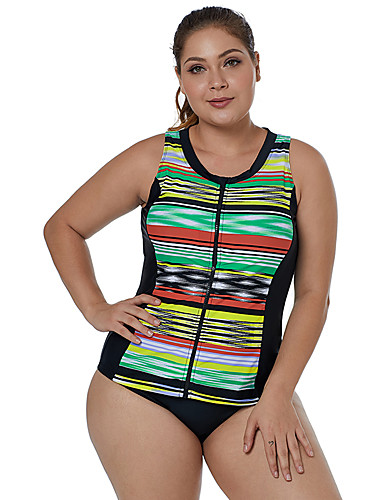 7de89390536 Women s Basic Plunging Neck Green Cheeky One-piece Swimwear - Striped XL  XXL XXXL Green   Sexy