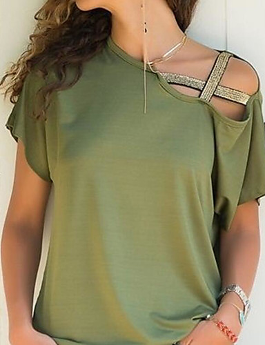 hesapli Tişört-Kadın's Kayık Yaka Salaş - Tişört Düşük Omuz / Derin, Solid Fuşya