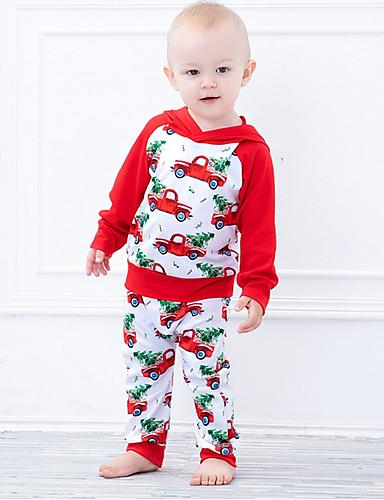 Baby Gutt Gatemote Daglig Trykt mønster Langermet Normal Polyester Tøysett Rød