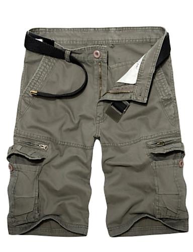 abordables Ropa de Hombre-Hombre Básico / Militar Diario Corte Ancho Shorts Pantalones - Un Color Verde Ejército Caqui Gris Claro 36 38 37