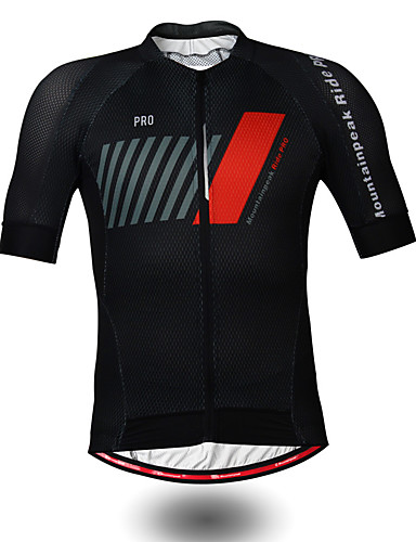 cheap Cycling Clothing-Mountainpeak Men's Short Sleeve Cycling Jersey Black / Red Stripes Bike Jersey Top Breathable Moisture Wicking Quick Dry Sports Polyester Coolmax® Mountain Bike MTB Road Bike Cycling Clothing Apparel