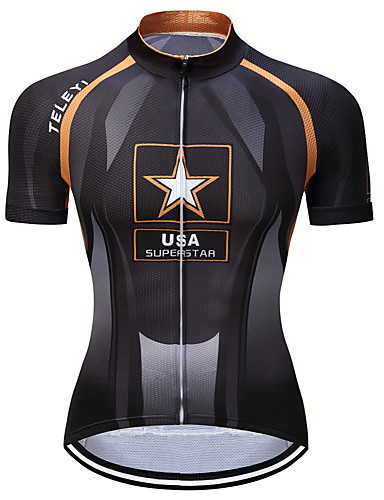 cheap Cycling Clothing-TELEYI Men's Short Sleeve Cycling Jersey - Black / Yellow Bike Jersey Top Moisture Wicking Quick Dry Sports Polyester Mountain Bike MTB Road Bike Cycling Clothing Apparel / Stretchy / SBS Zipper