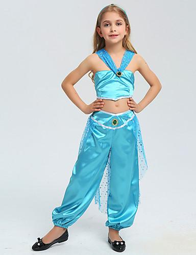 halpa Cosplay ja rooliasut-Aladdin Prinsessa Jasmine Cosplay-Asut Lasten Tyttöjen Halloween Joulu Halloween Karnevaali Festivaali / loma Polyesteria Sininen Karnevaalipuvut Prinsessa