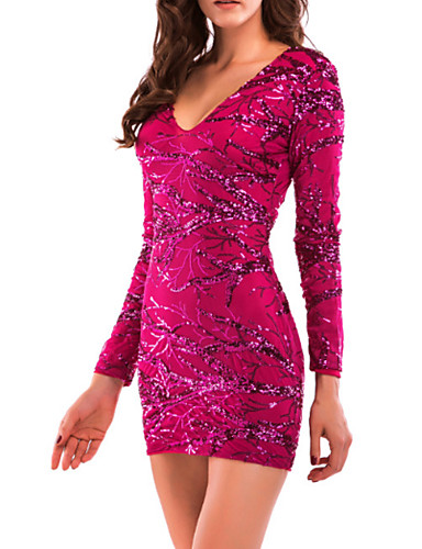 23b0ddd6272 Women s Party Birthday Basic Mini Slim Bodycon Sheath Dress - Solid Colored  Sequins V Neck Spring Red M L XL   Sexy