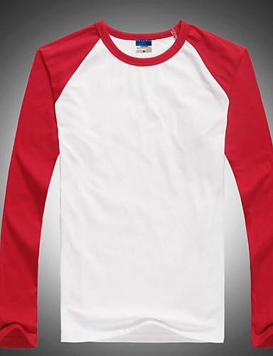 voordelige Heren T-shirts & tanktops-Heren T-shirt Kleurenblok Ronde hals Slank Rood / Lange mouw