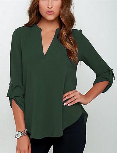 povoljno Majica-Veći konfekcijski brojevi Majica Žene Dnevno Jednobojni V izrez Širok kroj, Chiffon Vojska Green / Proljeće / Ljeto / Jesen / Zima