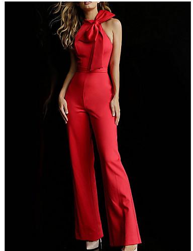 abordables Hauts pour Femmes-Femme Quotidien / Habits de travail Licou Noir Rouge Vin Combinaison-pantalon, Couleur Pleine Noeud M L XL Coton Sans Manches / Sexy