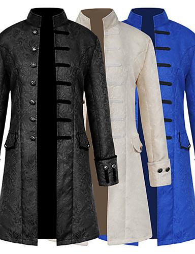 عتيق / معتق العصور الوسطى كوستيوم رجالي معطف أبيض / أسود / أزرق عتيقة تأثيري مناسب للحفلات حفلة تخرج / حفلة موسيقية / حفلة رقص كم طويل مرتفعة