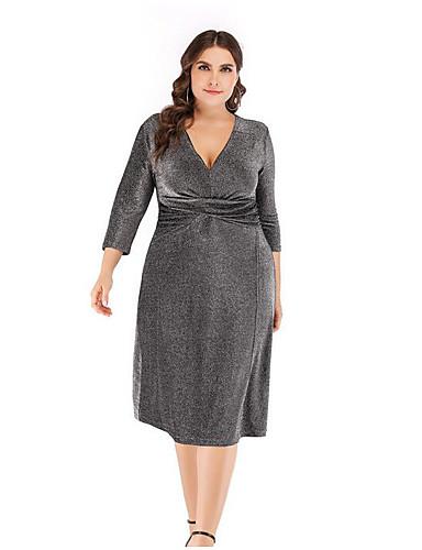 voordelige Grote maten jurken-Dames Slank A-lijn Jurk - Effen, Kwastje V-hals Midi