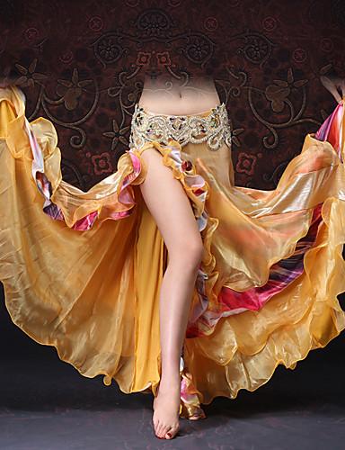 halpa Etniset & Cultural Puvut-Espanjan nainen Hameet Aikuisten Naisten Flamenco Halloween Karnevaali Masquerade Festivaali / loma Tylli Polyesteria Kultainen Nainen Karnevaalipuvut Color Block