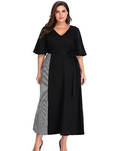 abordables Robes Femme-Femme Midi Mince Courte Robe Col en V Noir XXXL XXXXL XXXXXL Demi Manches
