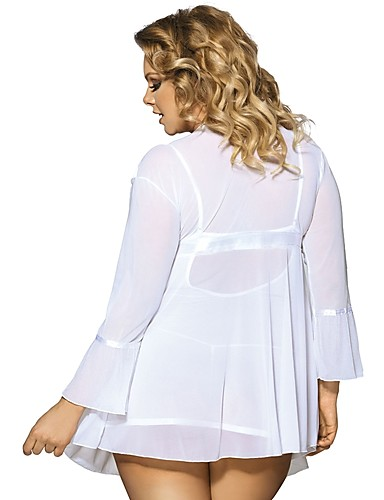 cheap Robes & Sleepwear-Women's Plus Size Sexy Suits Nightwear - Lace Solid Colored White Red XL XXXL XXXXXL / V Neck
