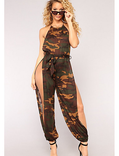 67a2679763a Women s Daily Street chic Strap Army Green Jumpsuit