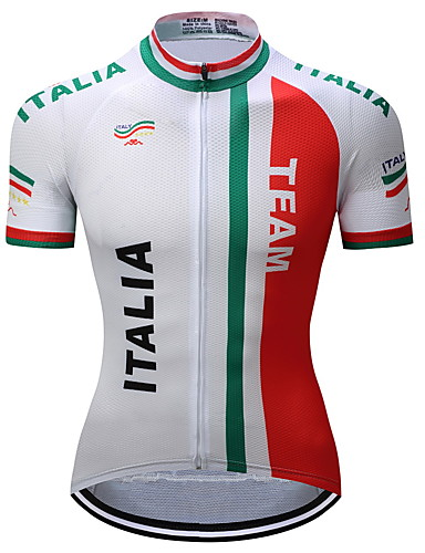 cheap Cycling Clothing-TELEYI Men's Short Sleeve Cycling Jersey Red and White Italy National Flag Bike Jersey Top Moisture Wicking Quick Dry Sports Polyester Mountain Bike MTB Road Bike Cycling Clothing Apparel / Stretchy