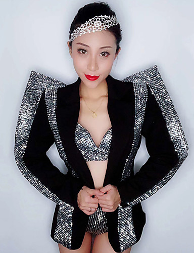 cheap New Arrivals-Dance Costumes Exotic Dancewear / Rhinestone Bodysuit Women's Performance Spandex Split Joint / Crystals / Rhinestones Long Sleeve Dropped Coat / Bra / Shorts