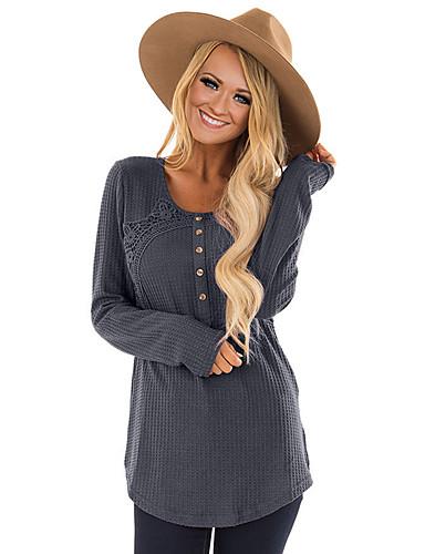 abordables Camisas y Camisetas para Mujer-Mujer Básico Jacquard Camisa, Escote en U Pitillo Un Color Gris L / Sexy