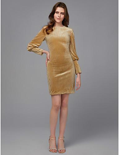 abordables Robes de Fête-Fourreau / Colonne Bijoux Courte / Mini Velours Soirée Cocktail Robe avec Drapée par TS Couture®