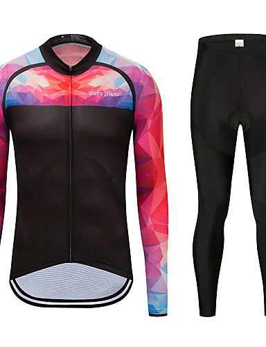 cheap Cycling Clothing-FirtySnow Men's Long Sleeve Cycling Jersey with Tights Peach Solid Color Bike Clothing Suit Thermal / Warm Windproof Fleece Lining Winter Sports Polyester Solid Color Mountain Bike MTB Road Bike