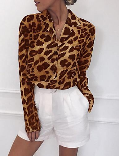 billige Dametopper-V-hals T-skjorte Dame - Leopard, Trykt mønster Gatemote Hvit