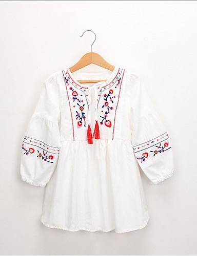Νήπιο Κοριτσίστικα Γλυκός / Κινεζικό στυλ Tribal Μακρυμάνικο Φόρεμα Θαλασσί