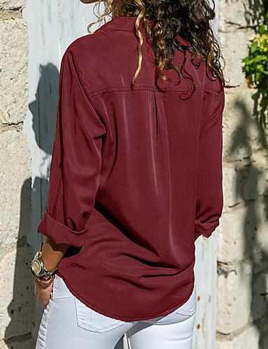 billige Topper til damer-Skjortekrage Store størrelser Skjorte Dame - Ensfarget Grunnleggende Grå