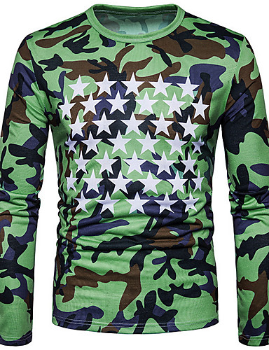 cd659fc770fe Ανδρικά T-shirt Βασικό Γεωμετρικό   καμουφλάζ Στρογγυλή Λαιμόκοψη Πράσινο  του τριφυλλιού L   Μακρυμάνικο