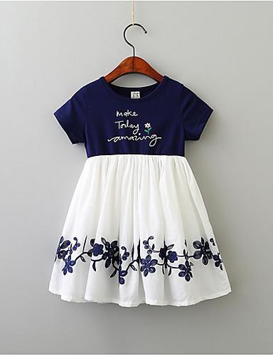 子供 女の子 甘い / かわいいスタイル カラーブロック / レタード 半袖 ドレス ネイビーブルー