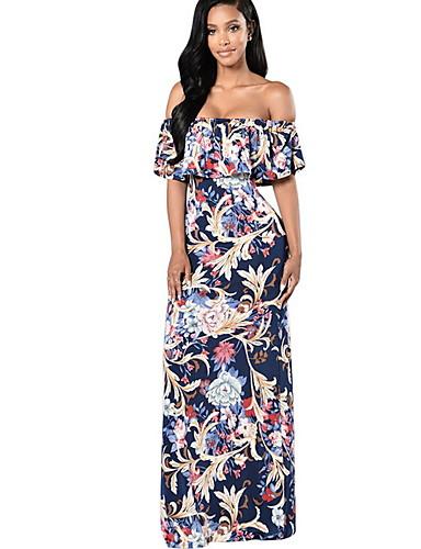 1c4304e6564c9 Women's Daily Maxi Swing Dress - Floral Print Off Shoulder Navy Blue XL XXL  XXXL